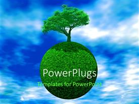 PowerPlugs: PowerPoint template with a tree with its reflection and bluish sky in the background