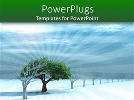 PowerPlugs: PowerPoint template with a tree with snow and clouds in the background