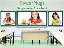 PowerPlugs: PowerPoint template with tree tiles with little kids smiling in a class room setting