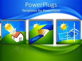 PowerPoint template displaying tree tiles showing the flow of renewable solar energy