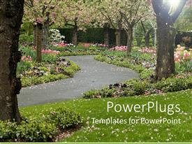 PowerPlugs: PowerPoint template with trees in blossom and pink flowers on green grass with paved pathway