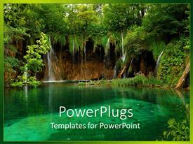 PowerPlugs: PowerPoint template with trees surrounding clear aquamarine pond, calm water
