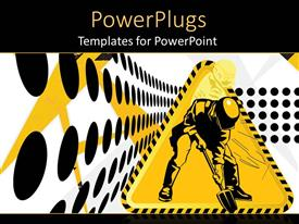 PowerPlugs: PowerPoint template with triangular construction sign on a white and black dotted background