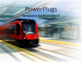 PowerPlugs: PowerPoint template with trolley bus speeding through trolley station red and black trolley train in blurred station