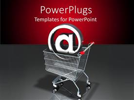 PowerPoint template displaying a trolly with a sign with a reddish background