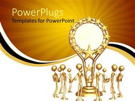 PowerPlugs: PowerPoint template with trophy award gold sun yellow white black stripe background