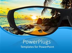 PowerPoint template displaying tropical beach looking through sun glasses seascape horizon sunset