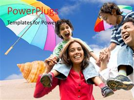 PowerPlugs: PowerPoint template with a family enjoying on the beach