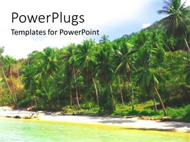 PowerPlugs: PowerPoint template with tropical beach with sand, ocean and palm trees, travel, vacation, holiday