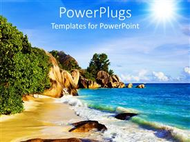 PowerPoint template displaying a tropical beach with sea water and trees with light blue sky and the sun