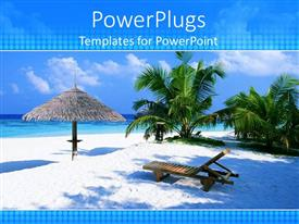 PowerPlugs: PowerPoint template with tropical beach vacation scene with umbrella, sand, lounge chair, palm trees