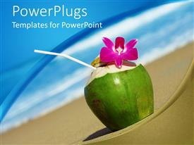 PowerPlugs: PowerPoint template with tropical cocktail with pink orchid close up on sandy beach