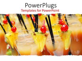 PowerPlugs: PowerPoint template with tropical drinks with pineapple and cherry garnishes and straws, alcoholic beverages, bartending, hospitality