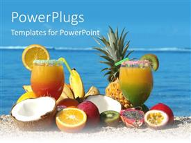PowerPlugs: PowerPoint template with tropical fruits and two cocktails on beach, vacation, travel, island