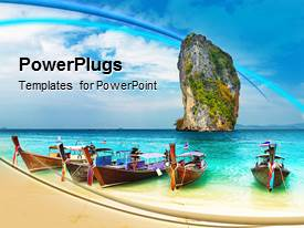 PowerPoint template displaying tropical island beach boats beautiful vacation ocean background