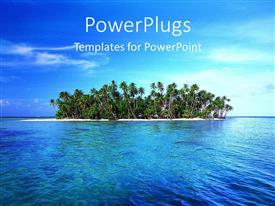 PowerPlugs: PowerPoint template with tropical island with palm trees and ocean