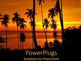 PowerPlugs: PowerPoint template with tropical landscape at sunset with ocean and palm trees