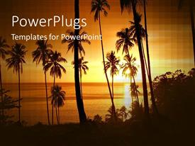 PowerPlugs: PowerPoint template with tropical paradise with palm trees in silhouette at sunset, vacation, travel, holiday, island