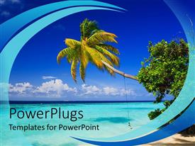 PowerPoint template displaying tropical setting with palm tree sand beach and ocean water with blue sky background