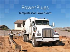 PowerPoint template displaying a truck with the construction going on