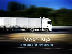 PowerPlugs: PowerPoint template with a truck in full speed with trees in the background