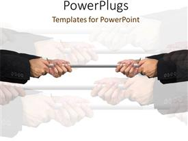 PowerPlugs: PowerPoint template with tug a war pulling power struggle strain work stress competition hard work