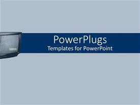 PowerPoint template displaying a tv with a simple grey background
