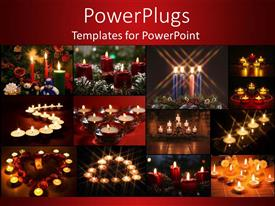 PowerPlugs: PowerPoint template with twelve colorful tiles with lit candles on a red background
