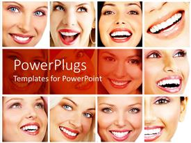 PowerPlugs: PowerPoint template with twelve tiles with faces of pretty ladies smiling happily