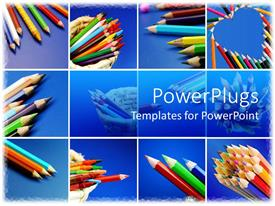 PowerPoint template displaying twelve tiles with lots of color pencils arranged in different ways