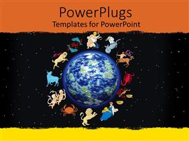 PowerPlugs: PowerPoint template with twelve zodiac signs framing planet earth on starry black sky framed by orange and yellow painting background