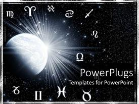 PowerPoint template displaying twelve zodiac symbols around the planet on a starry galaxy black background