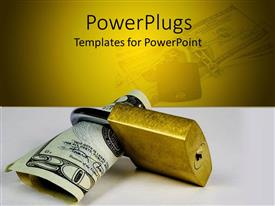 PowerPlugs: PowerPoint template with twenty dollar bill in gold colored padlock, protect money