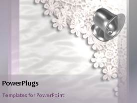 PowerPlugs: PowerPoint template with twenty one seconds video of moving wedding bells on white lace