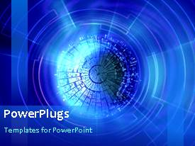 PowerPlugs: PowerPoint template with twenty two second video of blue abstract design on black background