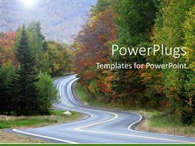 PowerPlugs: PowerPoint template with twisting turning road to success long driving to destination autumn
