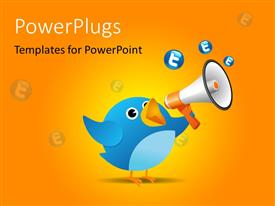 PowerPlugs: PowerPoint template with twitter bird using loud speaker on orange background