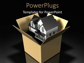 PowerPoint template displaying two-story house sitting inside of a large cardboard box with black color