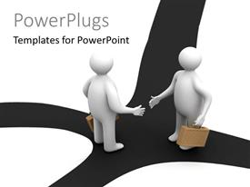 PowerPlugs: PowerPoint template with two 3D business men with briefcases shake hands at crossroad
