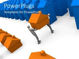 PowerPlugs: PowerPoint template with two 3D characters carrying a small orange colored house