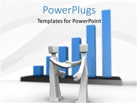 PowerPlugs: PowerPoint template with two 3D characters having a handshake with blue background bars