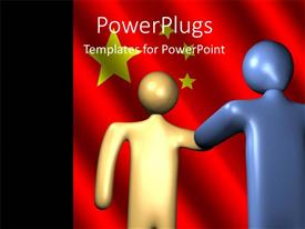 PowerPoint template displaying two 3D characters shaking hands on a red background