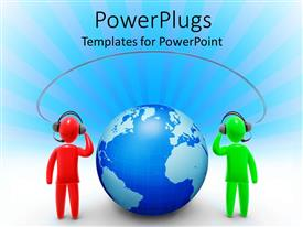 PowerPoint template displaying two 3D figures red and green figure communicating through internet connection, headphones and microphone with globe between figures