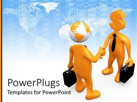 PowerPlugs: PowerPoint template with two 3D figures representing businessmen shaking hands one with Earth head and one with Dollar head