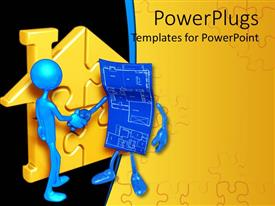 PowerPlugs: PowerPoint template with two 3D human characters having a handshake with a yellow puzzle house beside them