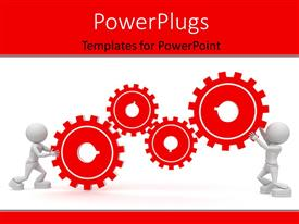 PowerPlugs: PowerPoint template with two 3d human characters pushing four red colored gears