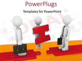 PowerPlugs: PowerPoint template with two 3D men with briefcases and third man holding red puzzle piece