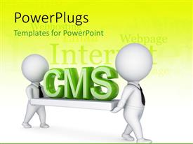 PowerPlugs: PowerPoint template with two 3D men carrying abbreviation of Content Management System CMS on white board