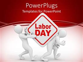 PowerPlugs: PowerPoint template with two 3D men carrying Labor Day sign