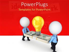 PowerPlugs: PowerPoint template with two 3D men carrying yellow light bulb on stack of dollar bill